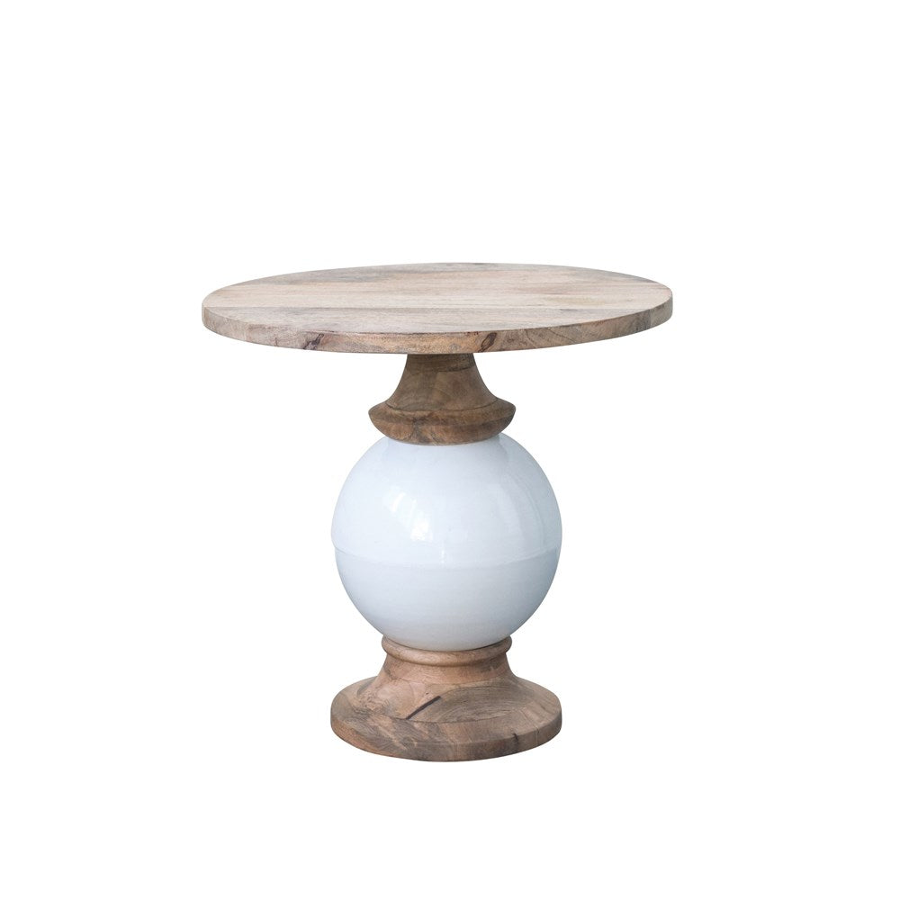 Mango Wood & White Metal Table