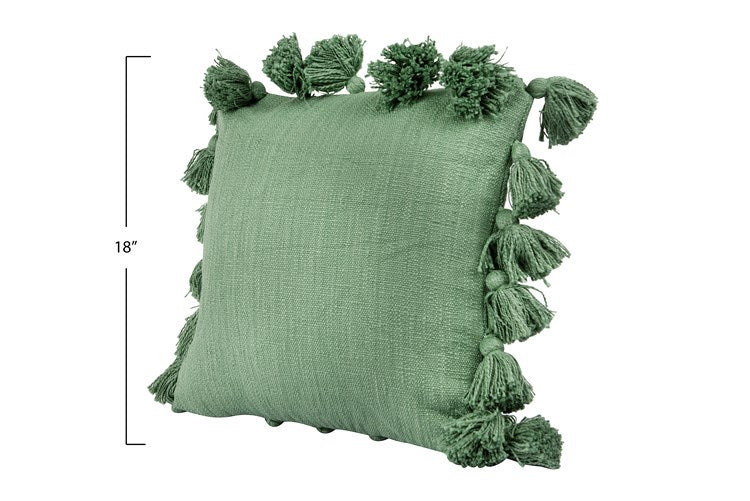 Green Square Cotton Pillow with Tassels