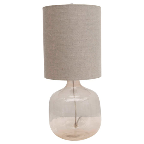 Glass Table Lamp w/ Cotton Shade