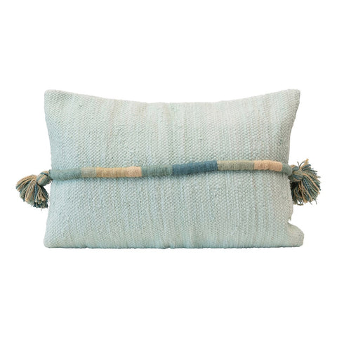 Blue Woven Cotton Lumbar Pillow