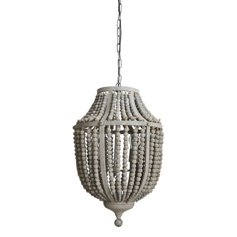 Gray Metal & Wood Beaded Chandelier