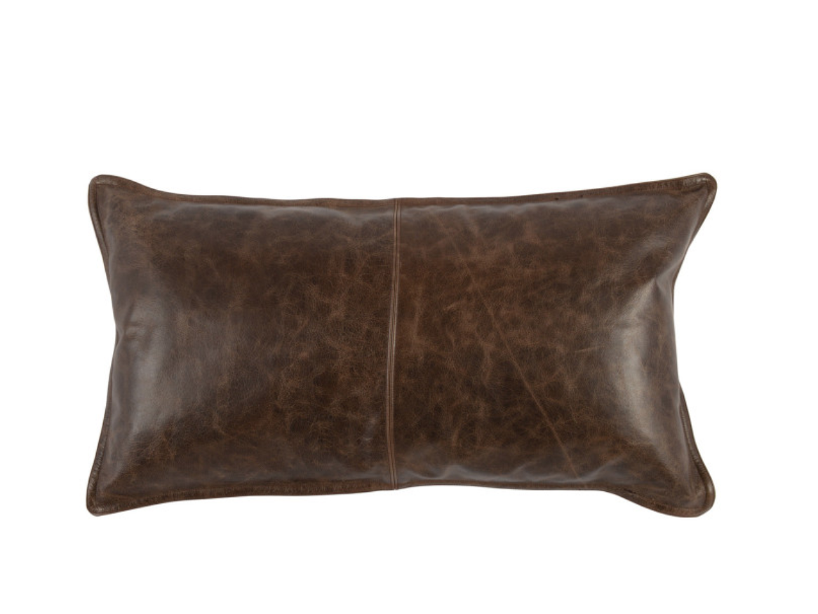 Parsons Cocoa Leather Lumbar Pillow