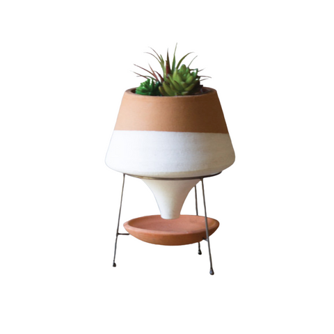 Terracotta & White Funnel Planter - Small