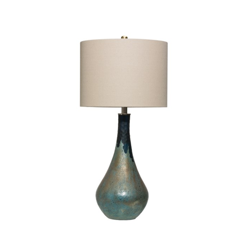 Green Opal Glass Table Lamp