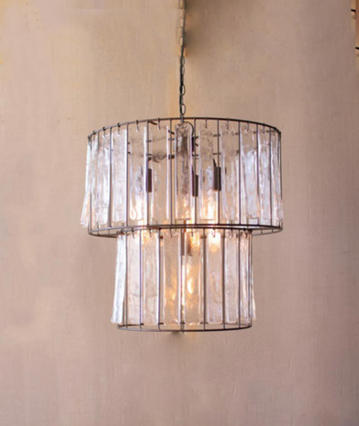 Two Tiered Light with Glass Chimes