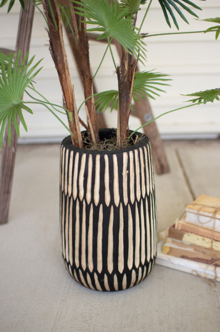 Hand Carved Black and White Wooden Vase