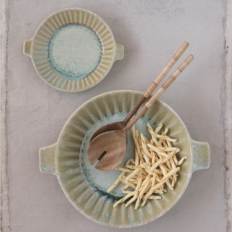 Matte Celadon Stoneware Server with Handles