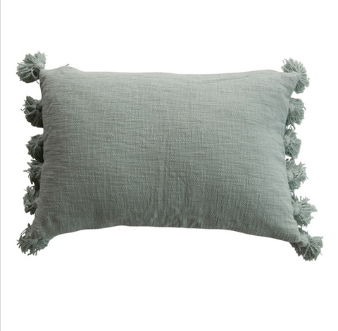 Aqua Cotton Slub Lumbar Pillow with Tassels