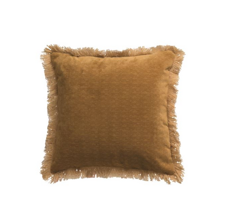 Eyelash Fringe Mustard  Pillow
