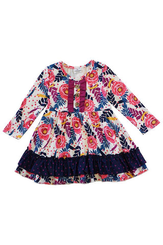 Pink Navy Floral Ruffle Dress