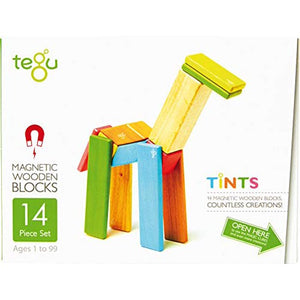 14 Piece Magnetic Wooden Block Set-Tints