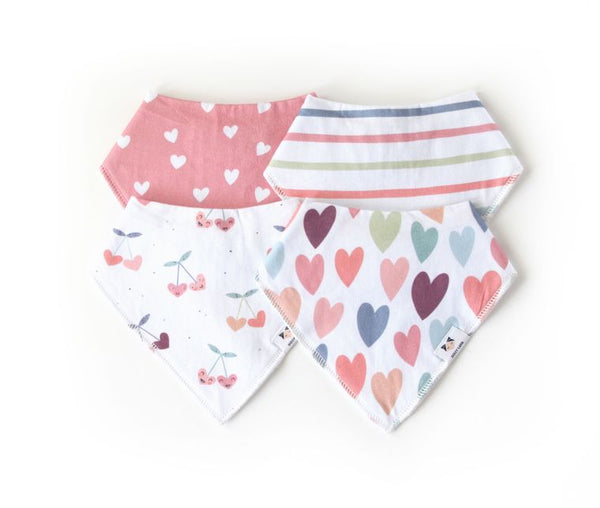 Baby Bandana Bib Set - Cherry Heart