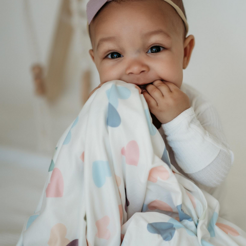 Pastel Heart Baby Swaddle