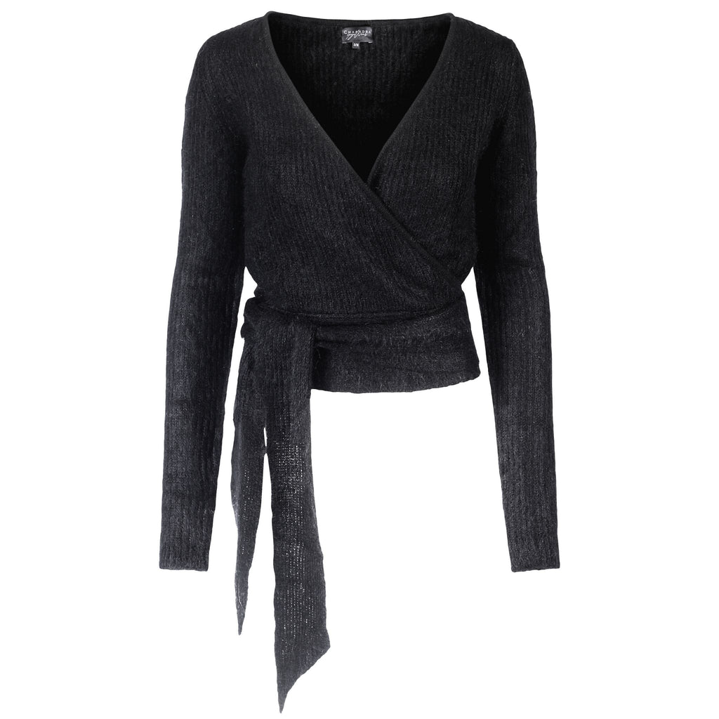 """ANANDA WRAPTOP "" Black Mohair"