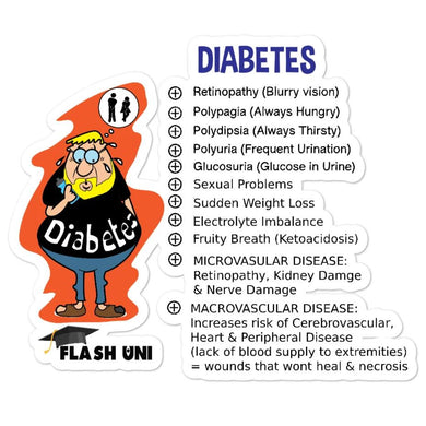 Diabetes Signs and Symptoms sticker for Nurses