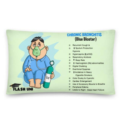 Chronic Bronchitis pillow with signs and symptoms for uni students