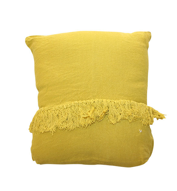 Coussin carré frangé en lin Curry - Sozon