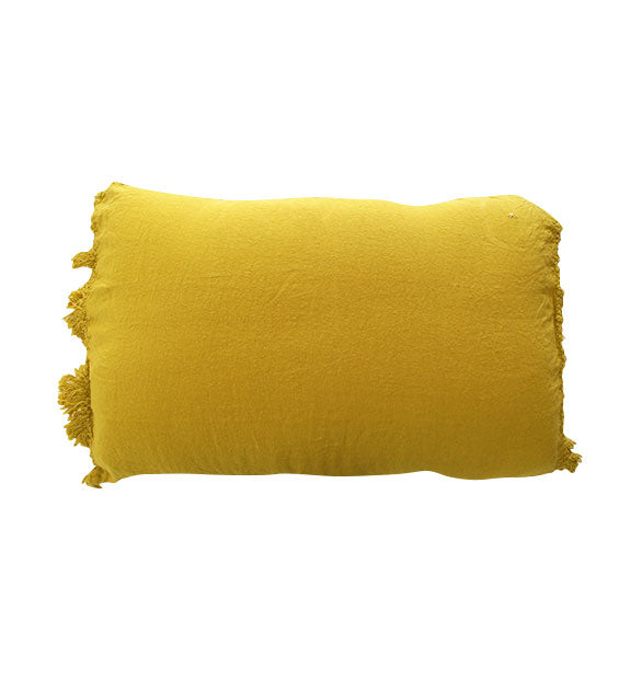 Coussin frangé en lin Curry - Sozon