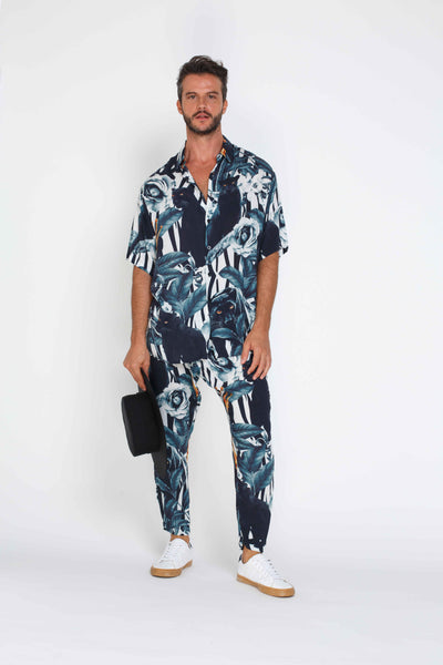 Mens Baggy Style Pants - Panther Pattern