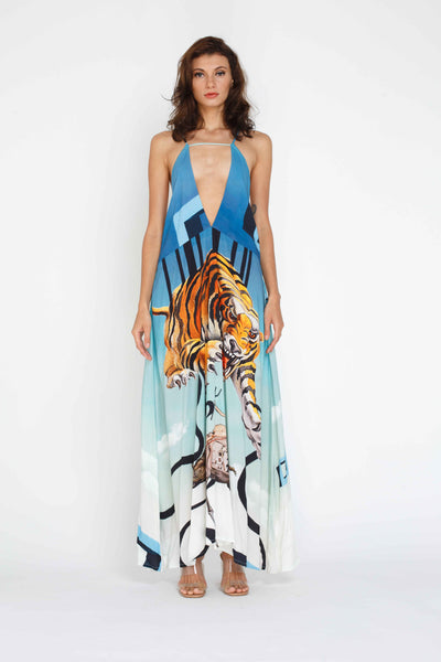 Mona Maxi Dress - Tiger Print