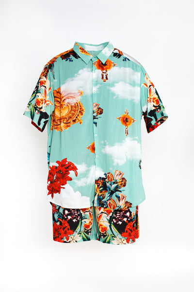 Mens Short Sleeved Shirt - Neptune Pattern