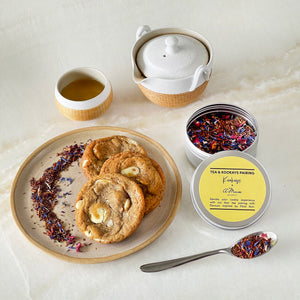 *PRE-ORDER ONLY* Tea-infused White Chocolate Macadamia Nut Cookies + Noir Tea