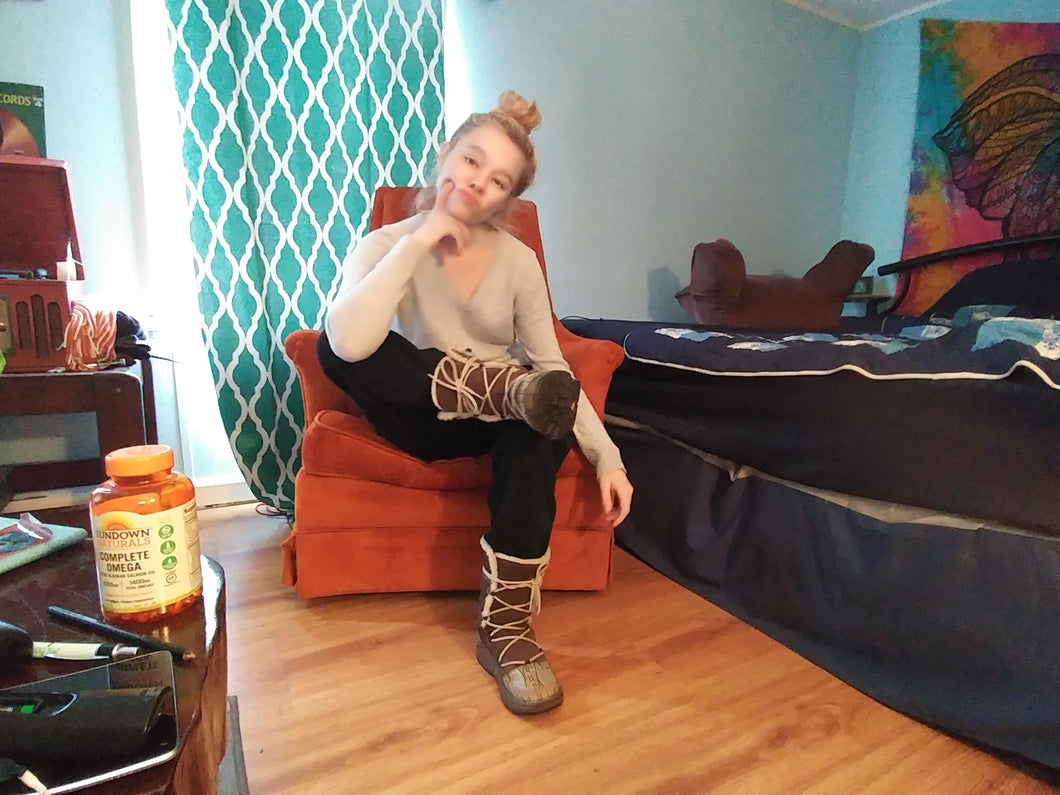 lonely blonde in boots