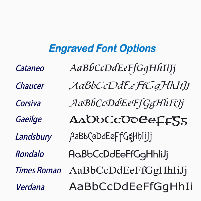 Engraved Font Options