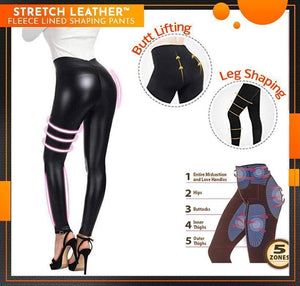 Stretch Leather Fleece Lined Shaping Pants