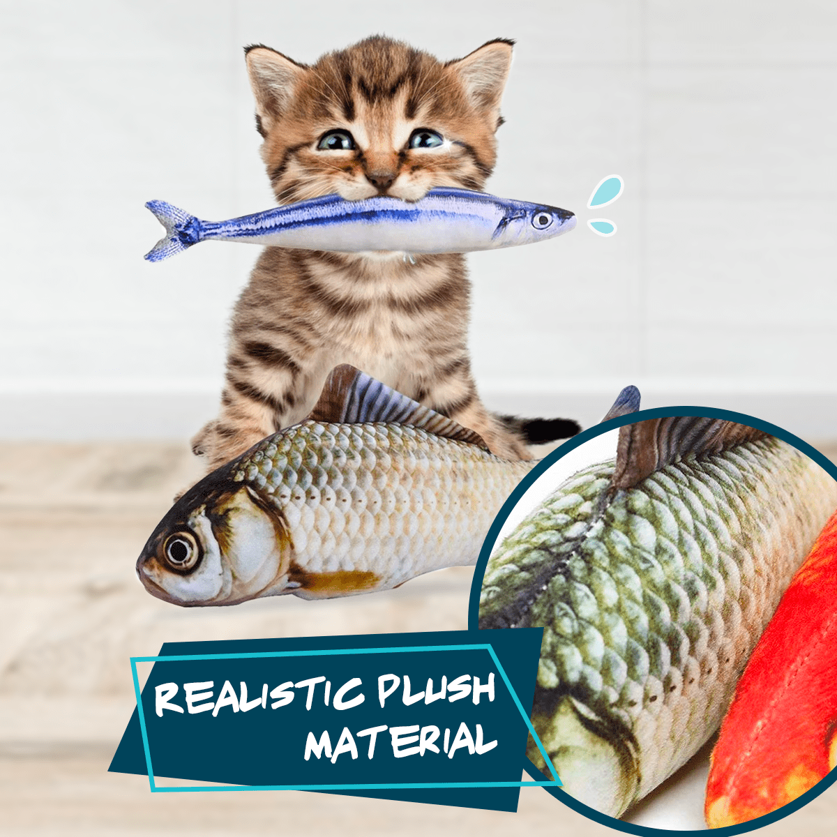 Realistic Fish Wagging Plush Toy - Meao B