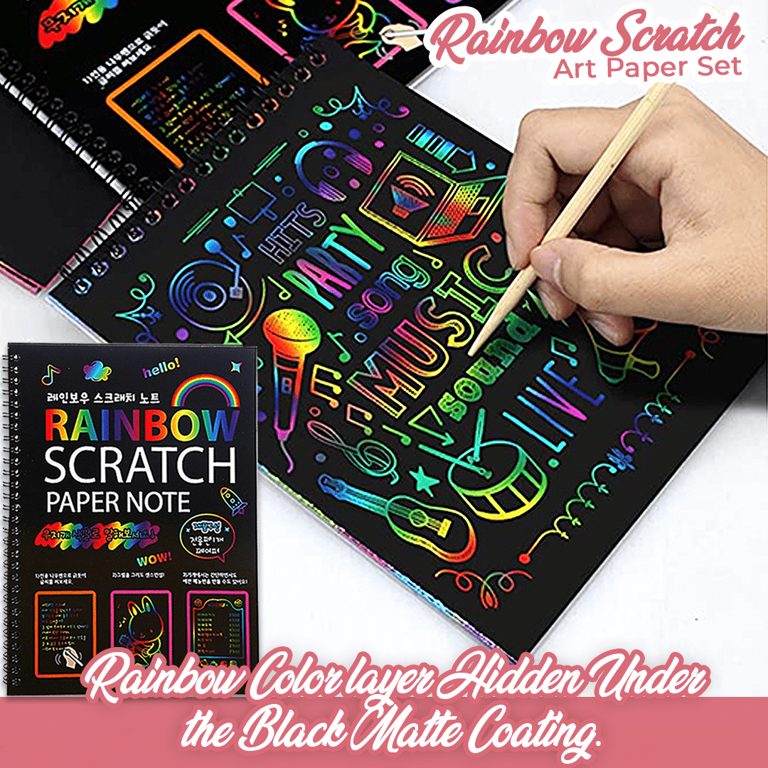 Rainbow Scratch Art Paper Set