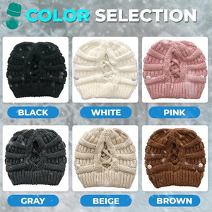 Face Cover Holder Button Beanie