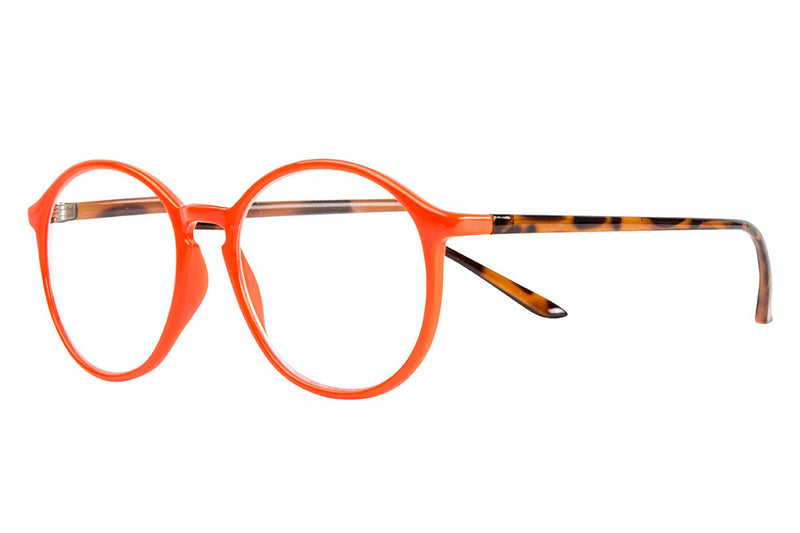 ADAM solid orange-demi brown Reading Glasses