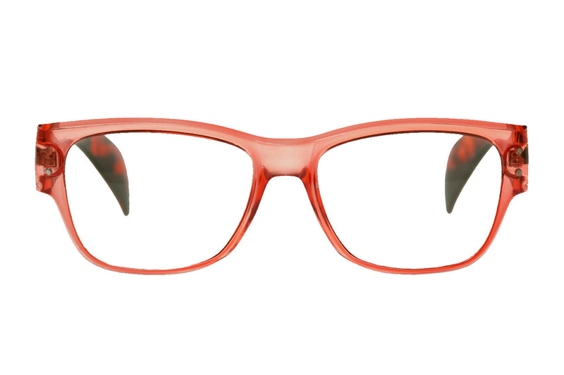 INGELA transparent coral-turtle brown Reading Glasses