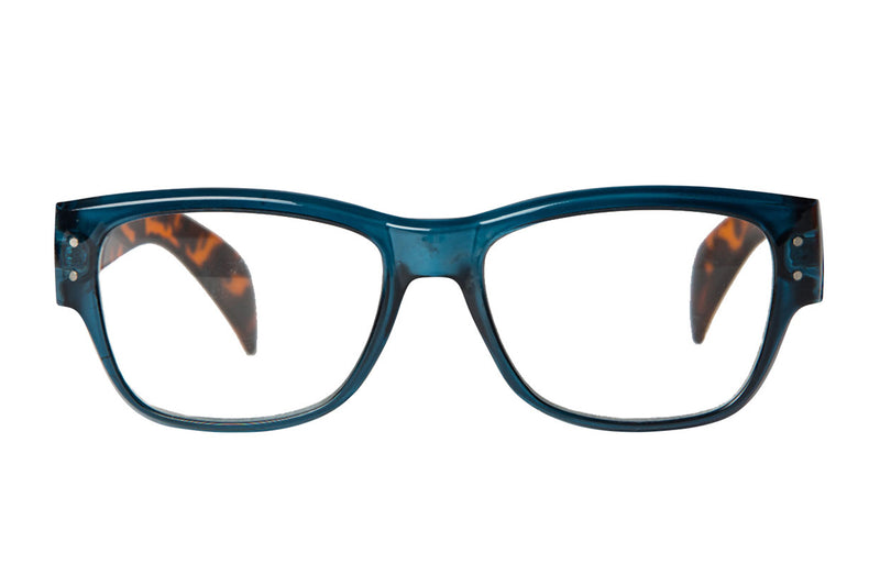 KIA transparent dark blue-turtle brown Reading Glasses