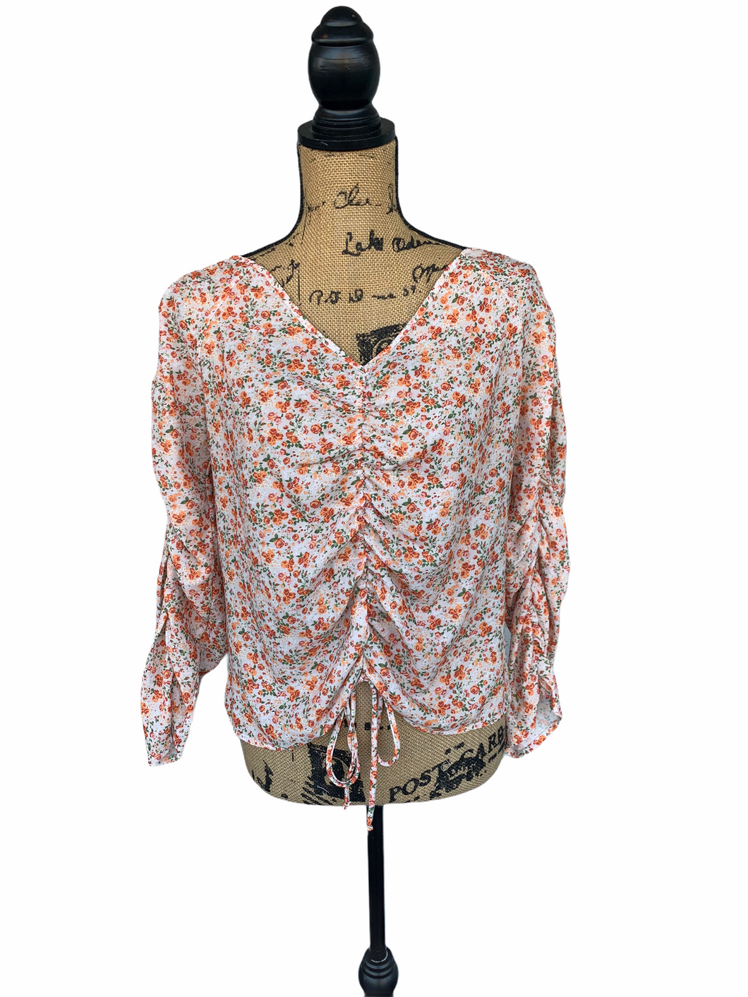 Flower Ruched Front Top