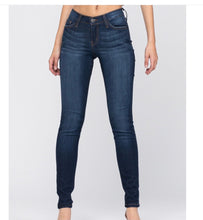 Load image into Gallery viewer, Judy Blue Dark Wash Super Stretchy & Soft Distressed Rayon Skinny