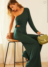 Load image into Gallery viewer, One Shoulder Green Jumpsuit