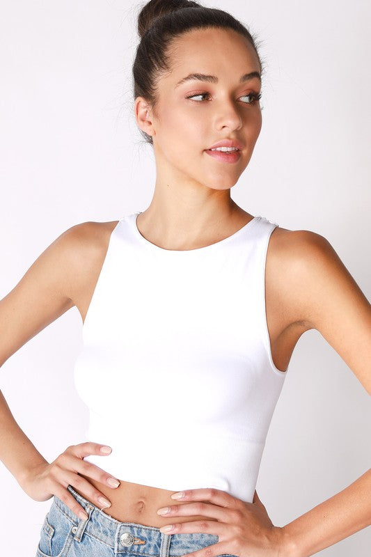 Haydn Ribbed Crop Top - White