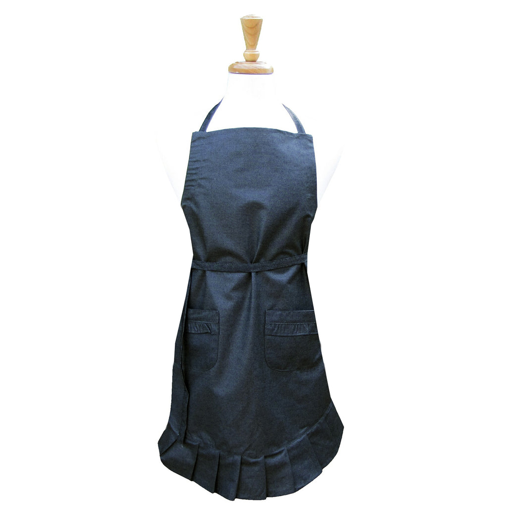Washed Denim Black Ruffle Apron
