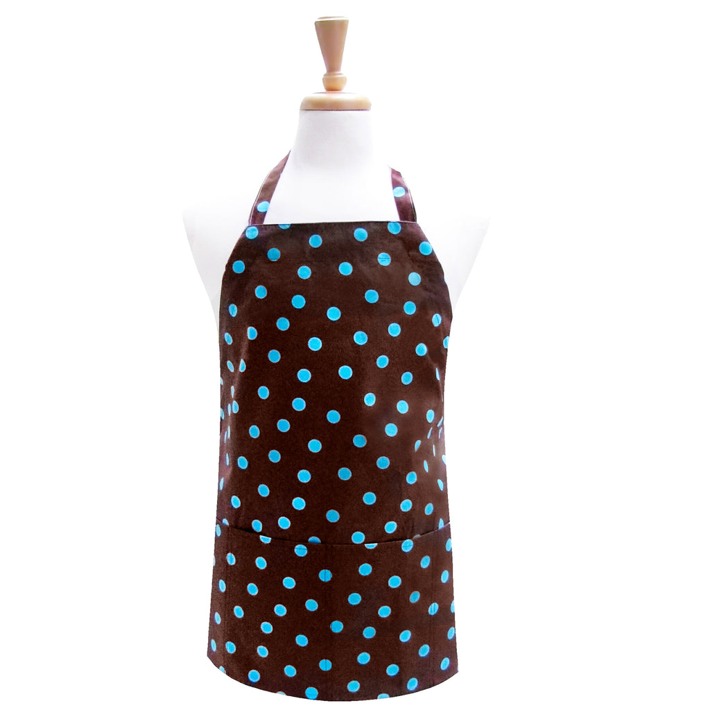 Polka Dot Turq Brown Utility Apron