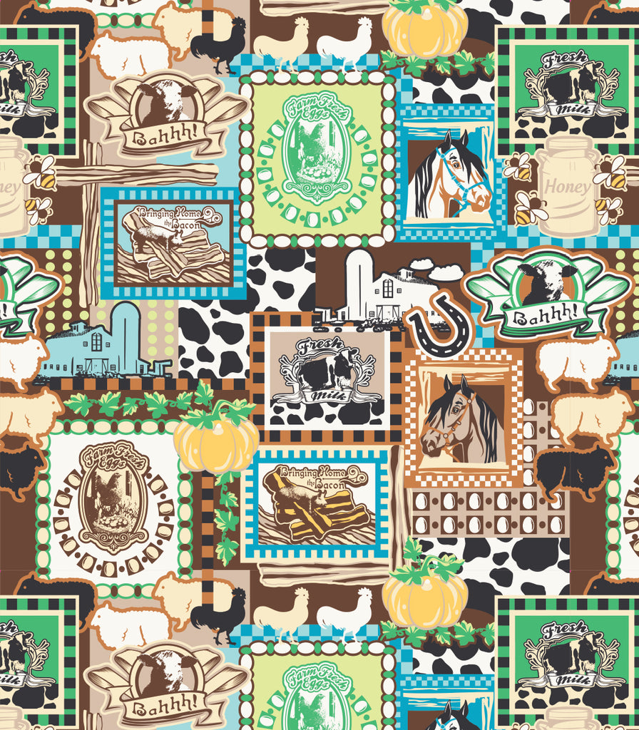 copyright @ Two Lumps of Sugar Barn Animals Print Barn Animals Ruffle Apron