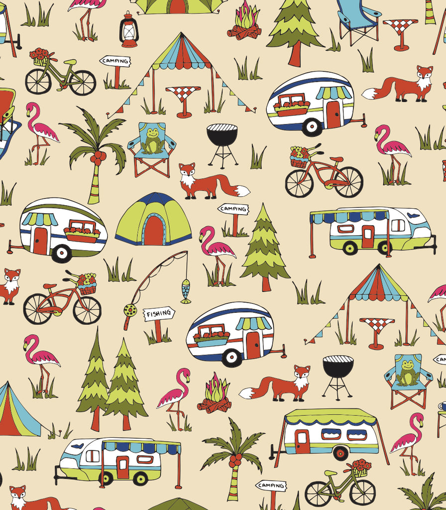 Camping Set of 4 Placemats © Two Lumps of Sugar copyright print