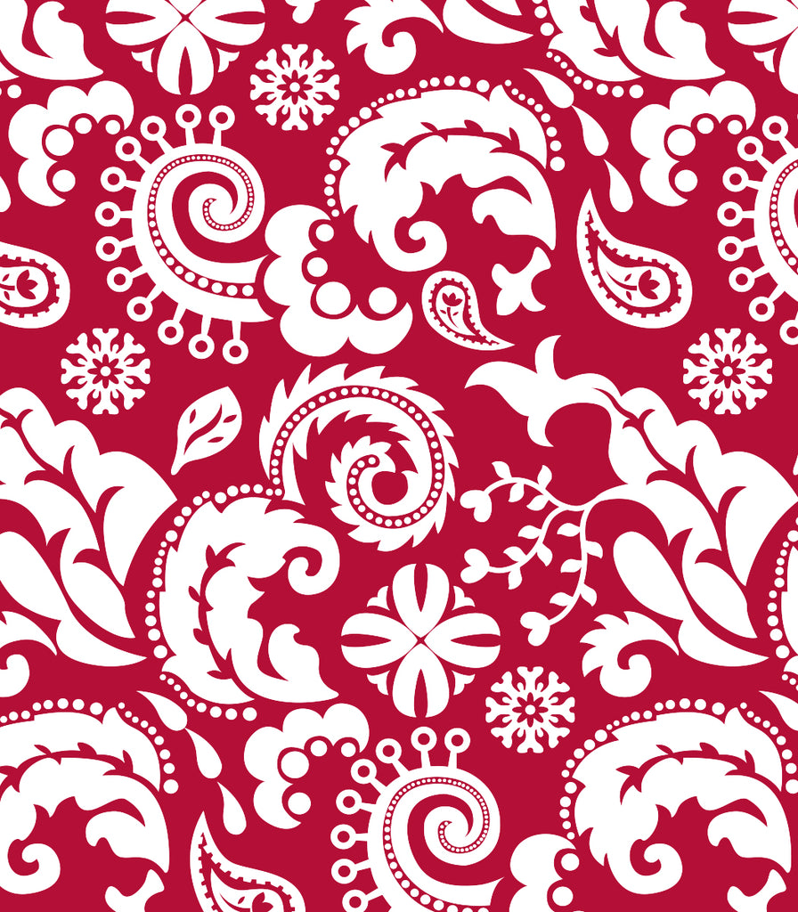 Mod Damask Red Utility Apron Copyright Two Lumps of Sugar print