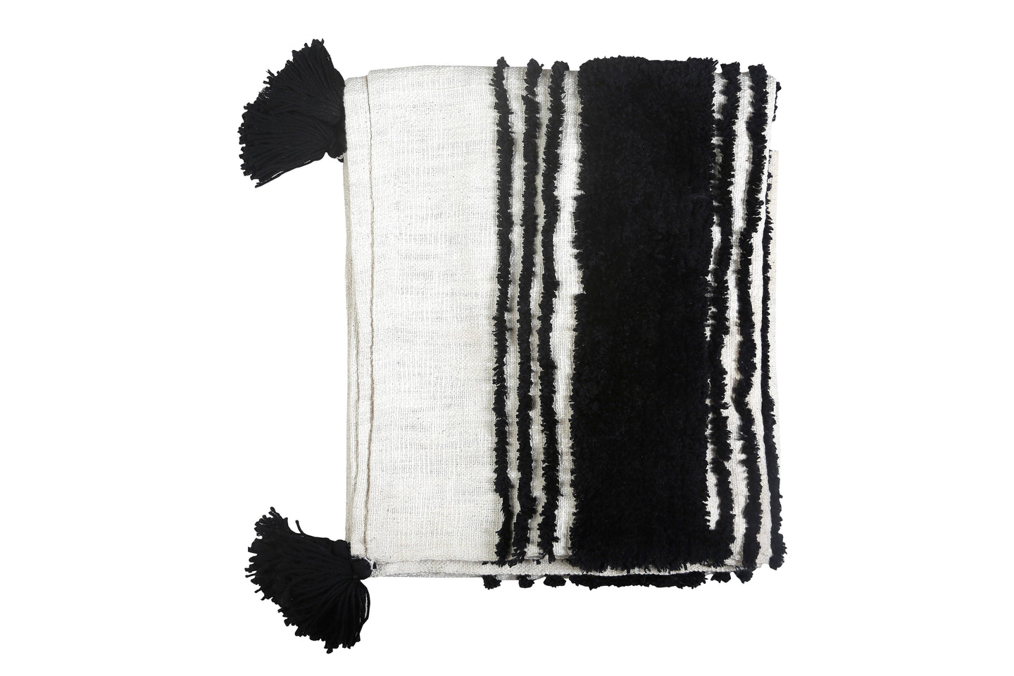 Tufted Slub Throw Black & White- 50X60 Inches