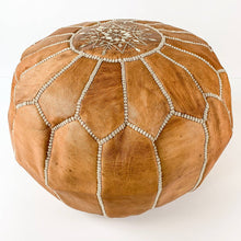 "Load image into Gallery viewer, Round Moroccan Leather Pouf in ""Tan"""