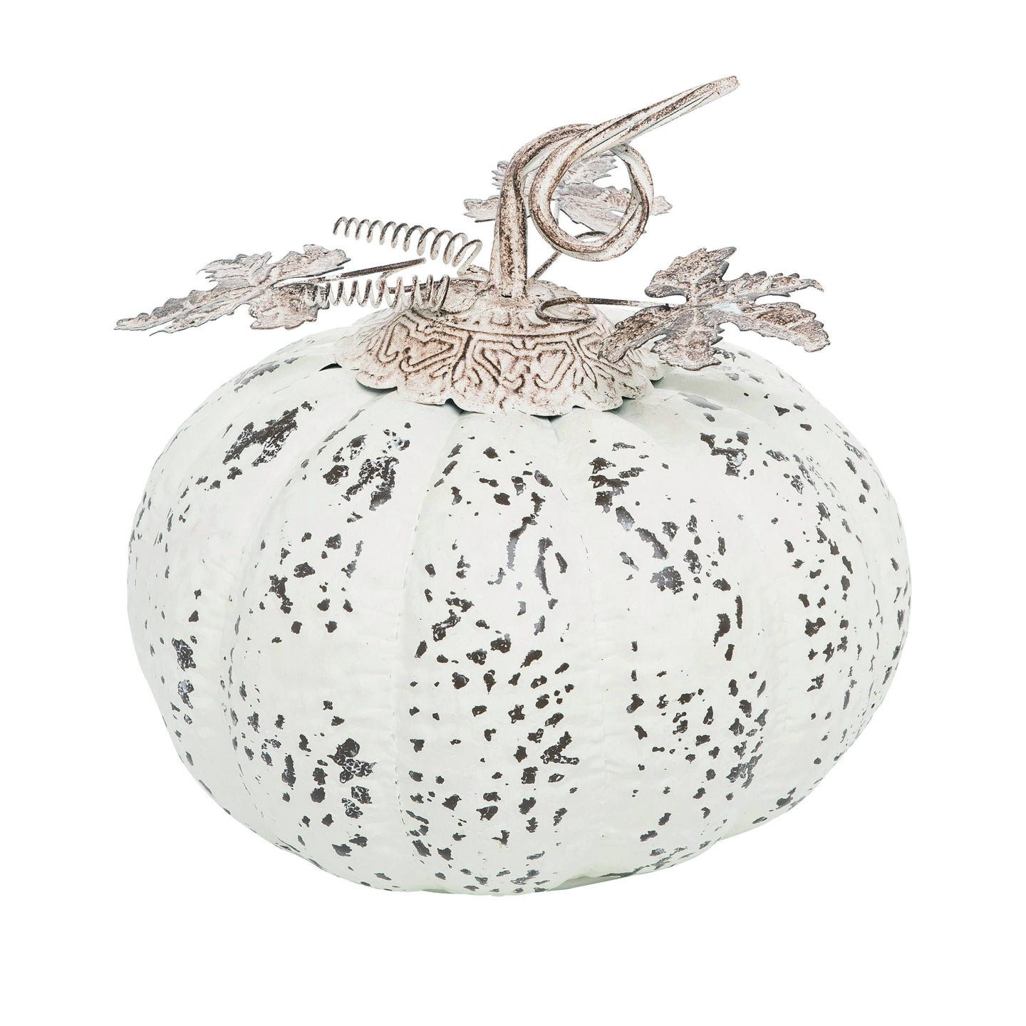 Medium Metal Harvest Rustic White Pumpkin