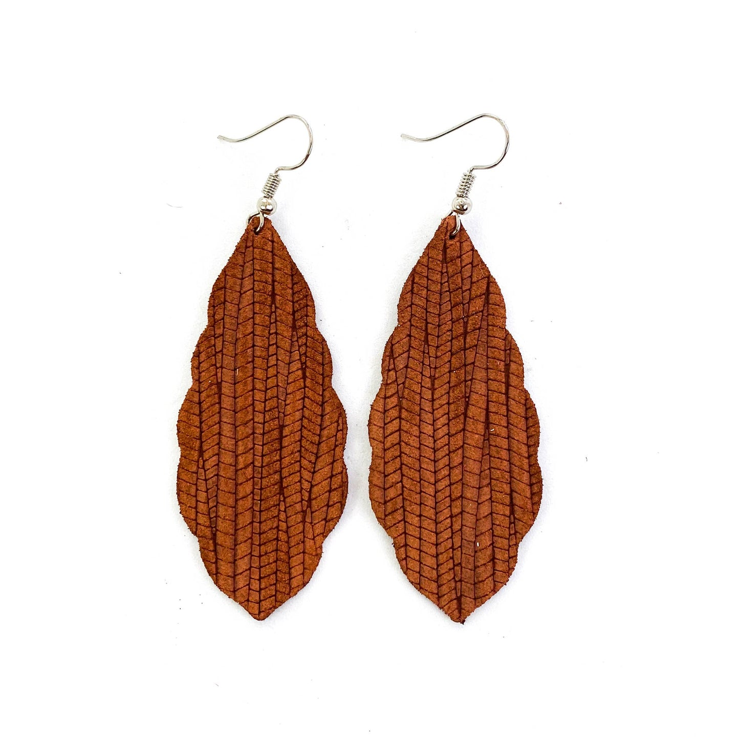 Rust Palm Leather Earrings