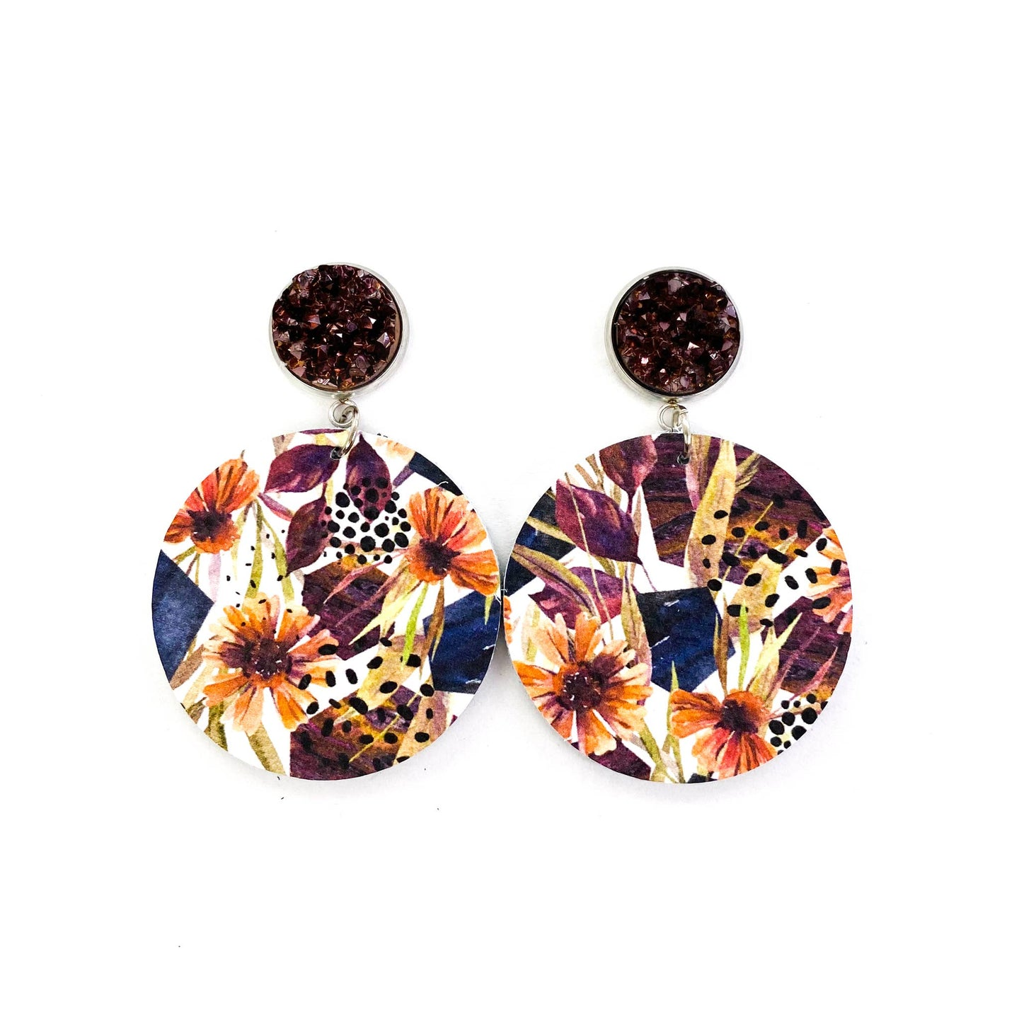 Druzy Stud & Fall Floral Autumn Leather Earrings