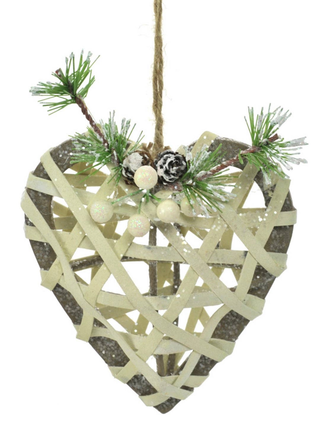 Rattan Lace Heart Ornament